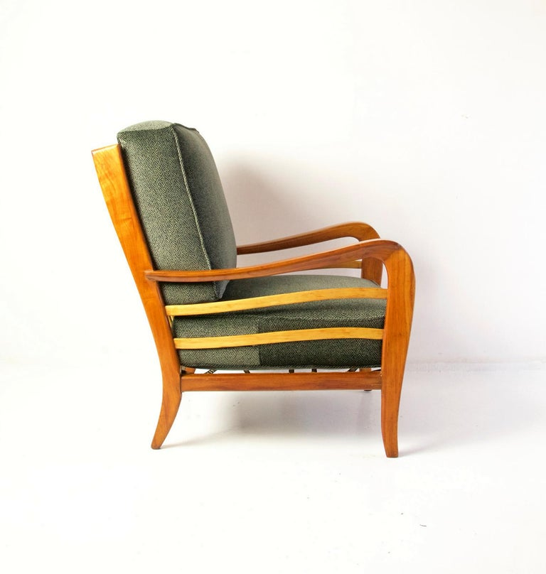 Midcentury Pair of Armchairs in Cherry and Maple by Paolo Buffa, Italy For Sale 1