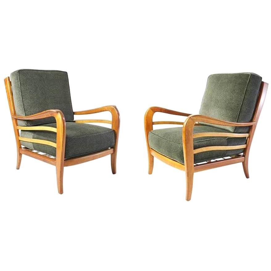 Midcentury Pair of Armchairs in Cherry and Maple by Paolo Buffa, Italy