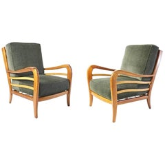 Midcentury Pair of Armchairs in Cherry and Maple by Paolo Buffa Italy