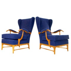 Midcentury Pair of Armchairs in Walnut by Paolo Buffa for Framar Made in Italy