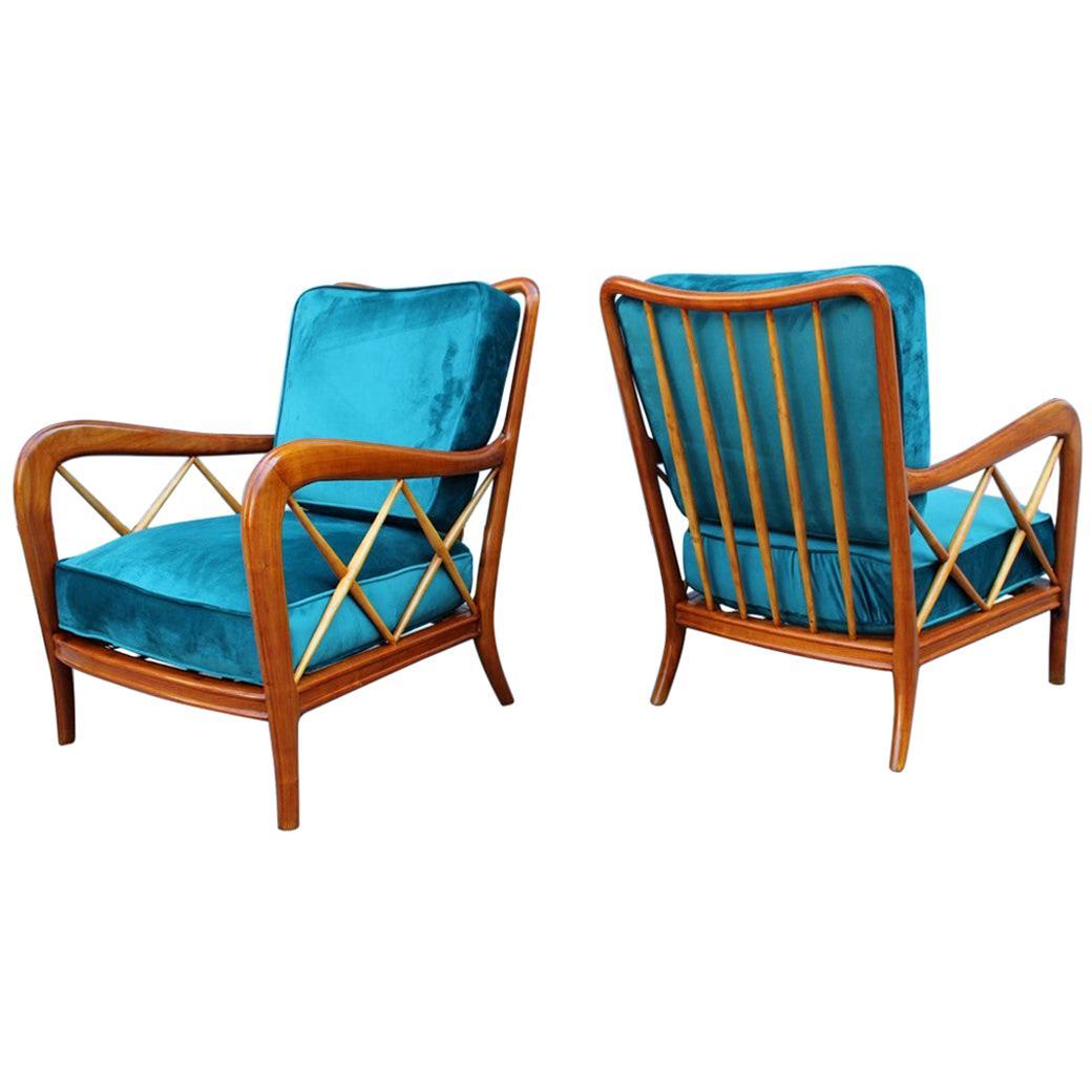 Midcentury Pair of Armchairs Style Paolo Buffa Italian Design Cherrywood Green