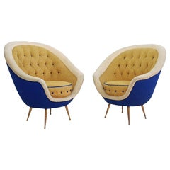 Midcentury Pair of Armchairs with Brass Spider Legs by ISA Bergamo, Italy, 1959