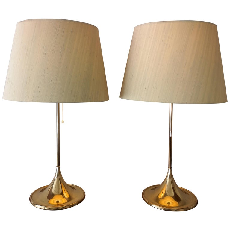 Midcentury Pair of Bergbom B-024 Table Lamps, 1960s, Sweden For Sale
