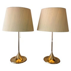 Midcentury Pair of Bergboms B-024 Table Lamps, 1960s, Sweden