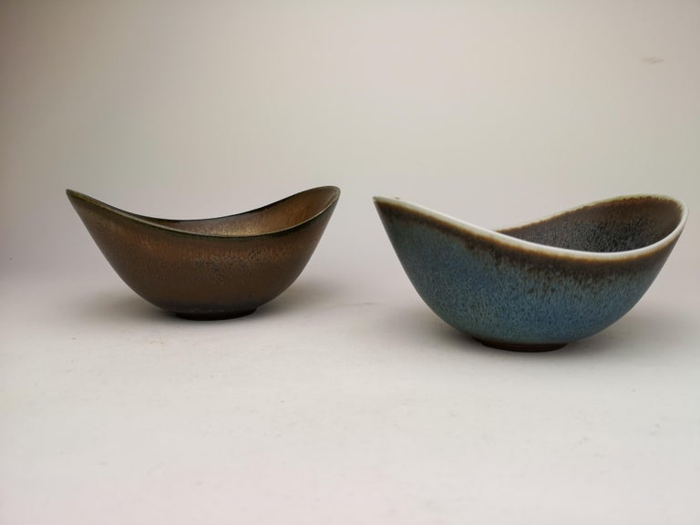 Ceramic Midcentury Pair of Bowls Rörstrand Sweden by Gunnar Nylund, 1950s For Sale