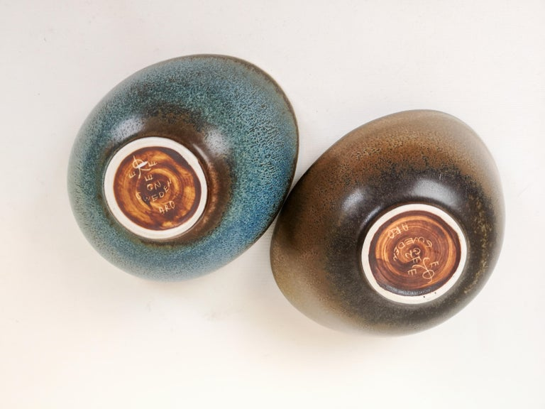 Midcentury Pair of Bowls Rörstrand Sweden by Gunnar Nylund, 1950s For Sale 1