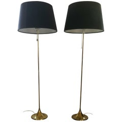 Midcentury Pair of Brass Floor Lamps Bergboms G-025