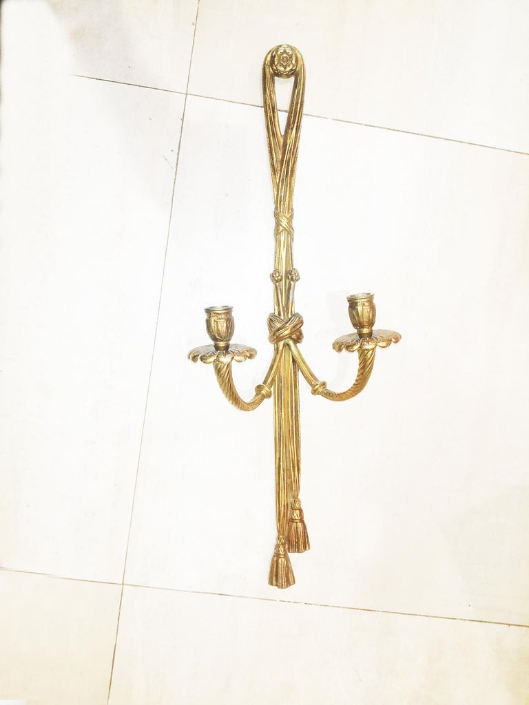 Brass Midcentury Pair of Bronze Doré Wall Sconces French Louis XVI Style