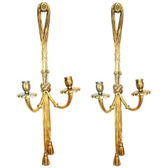 Midcentury Pair of Bronze Doré Wall Sconces French Louis XVI Style