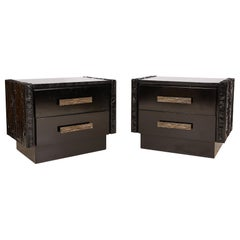 Midcentury Pair of Brutalist Nightstands