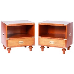 Midcentury Pair of Campaign Style Nightstands by Beacon Hill