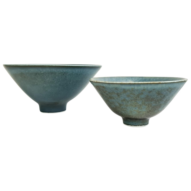 Midcentury Pair of Ceramic Bowls Rörstrand Carl Harry Stålhane, Sweden, 1950s