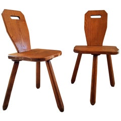 Midcentury primitive rustic Pair of Chairs Stools Style Perriand Les Arcs, 1950s