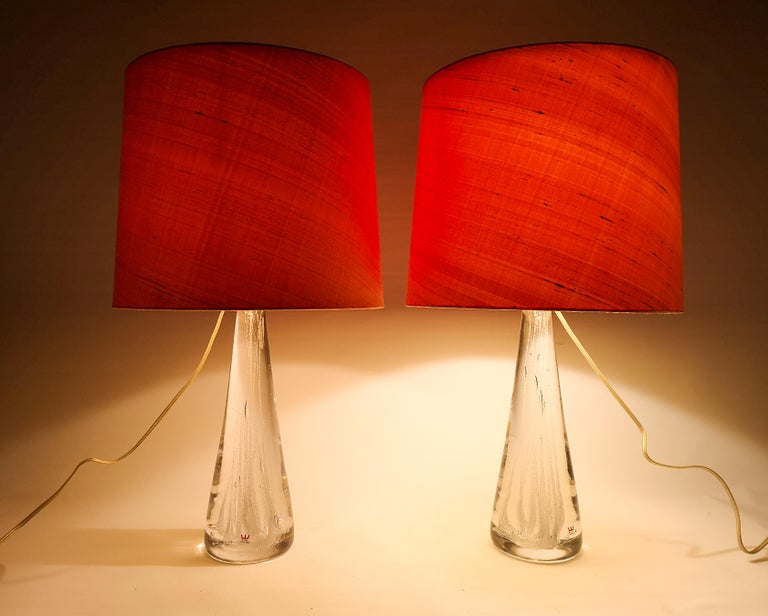 Midcentury Pair of Crystal Glass Table Lamps by Vicke Lindstrand For Sale 5