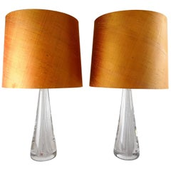 Midcentury Pair of Crystal Glass Table Lamps by Vicke Lindstrand