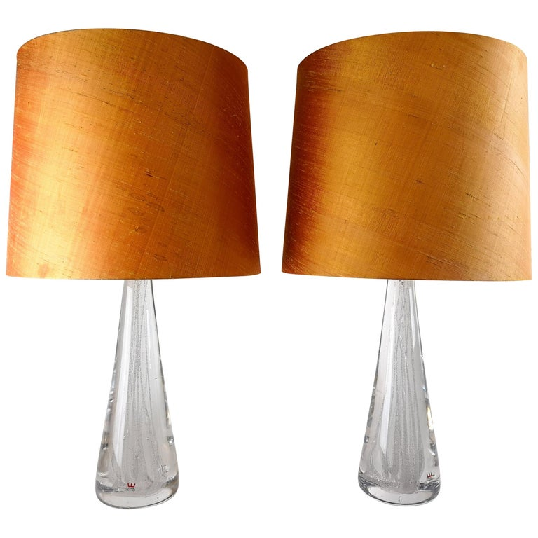 Midcentury Pair of Crystal Glass Table Lamps by Vicke Lindstrand For Sale