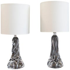 Midcentury Pair of Crystal Table Lamps, France, 1960s