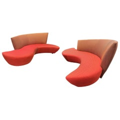 Midcentury Pair of Curved Serpentine Bilboa Sofas by Vladimir Kagan for Preview