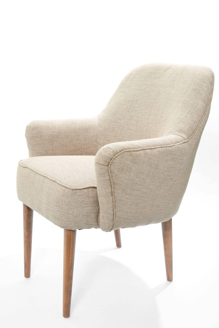 Midcentury Pair of Danish Petite Newly Upholstered Armchairs  In Excellent Condition For Sale In Chicago, IL
