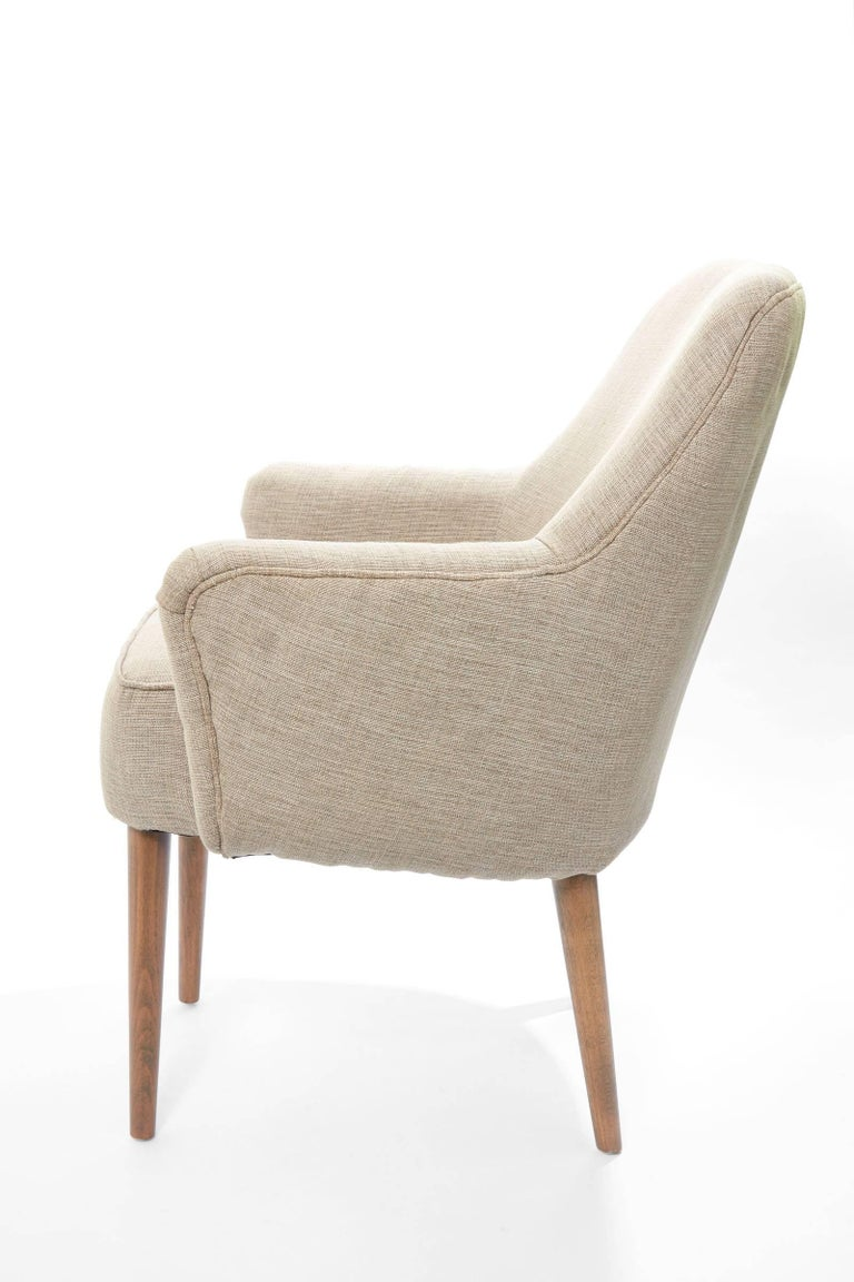 20th Century Midcentury Pair of Danish Petite Newly Upholstered Armchairs  For Sale