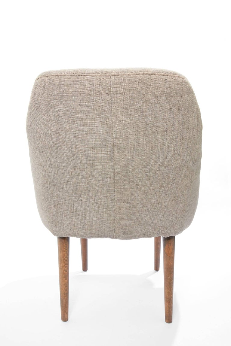 Linen Midcentury Pair of Danish Petite Newly Upholstered Armchairs  For Sale