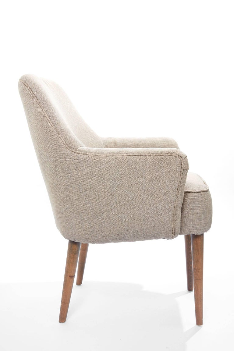 Midcentury Pair of Danish Petite Newly Upholstered Armchairs  For Sale 1