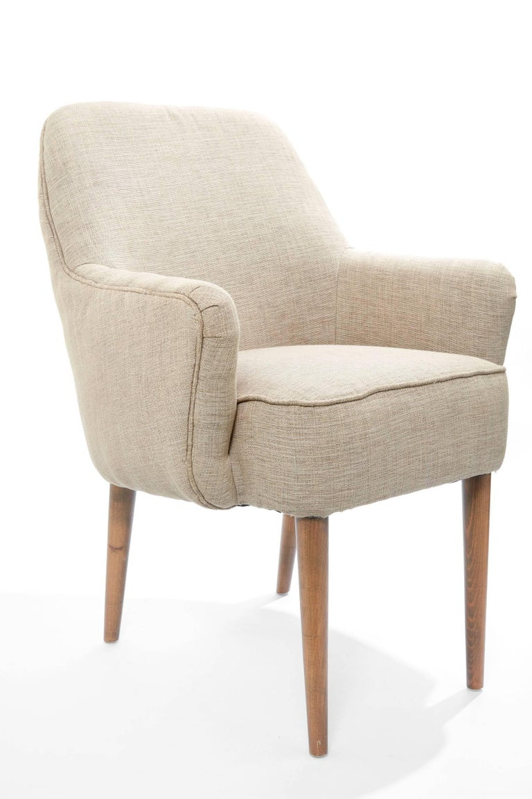 Midcentury Pair of Danish Petite Newly Upholstered Armchairs  For Sale 2