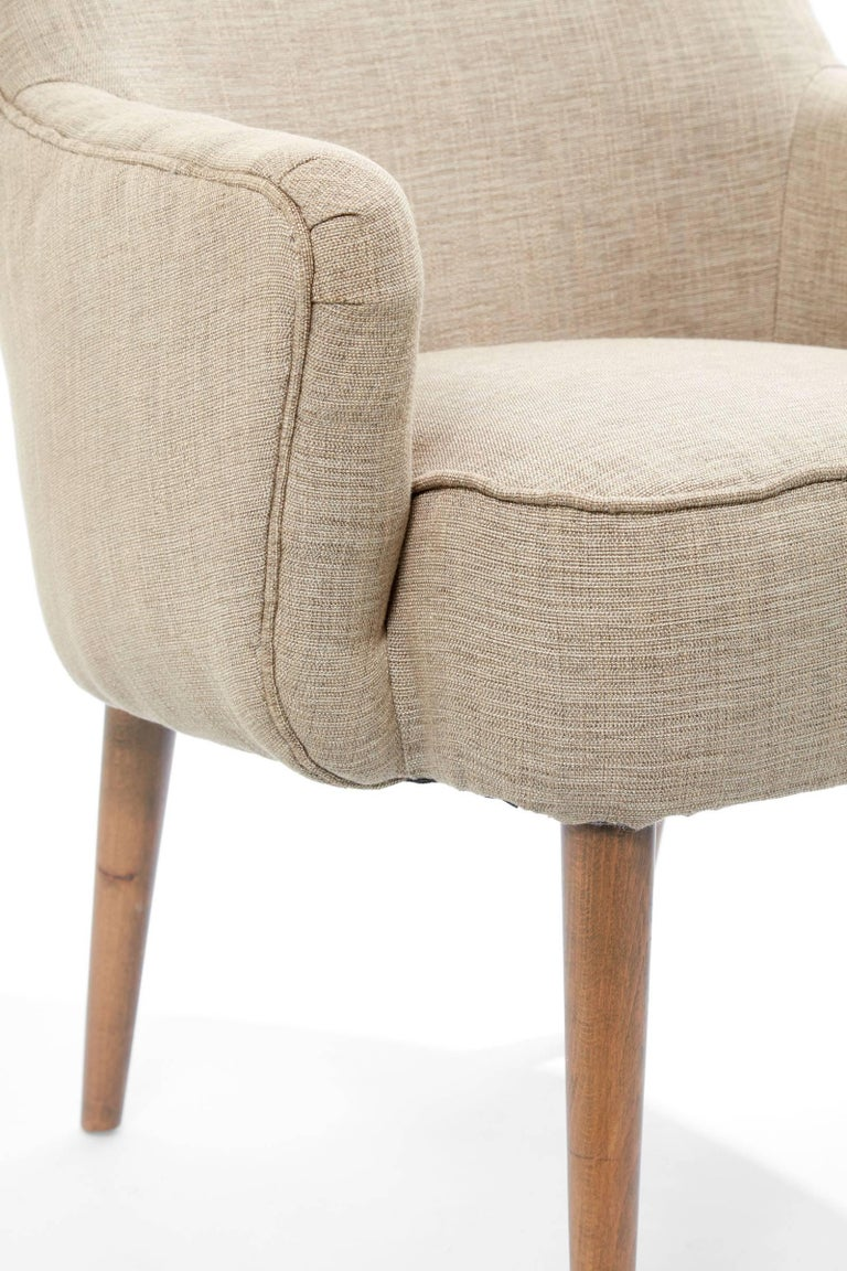 Midcentury Pair of Danish Petite Newly Upholstered Armchairs  For Sale 3