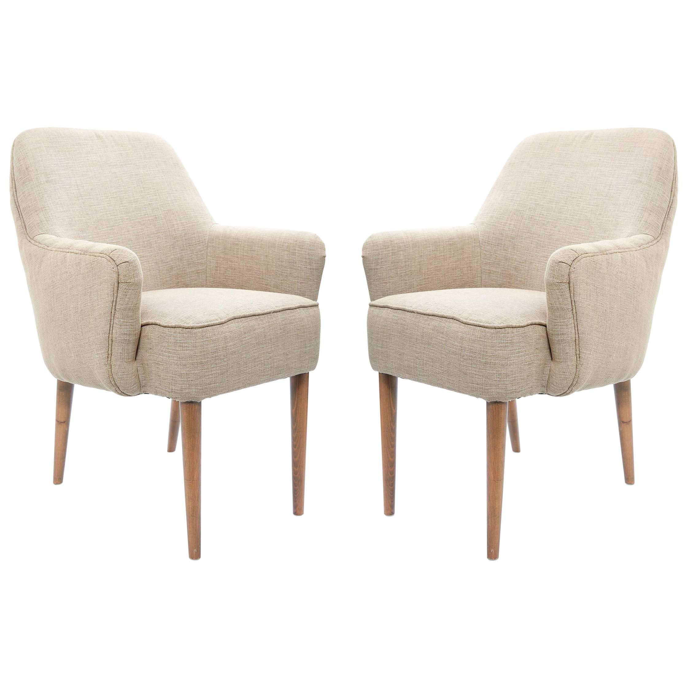 Midcentury Pair of Danish Petite Newly Upholstered Armchairs