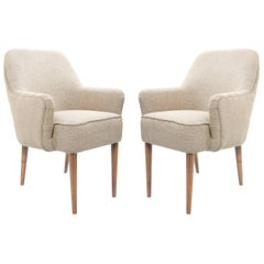 Midcentury Pair of Danish Petite Newly Upholstered Armchairs