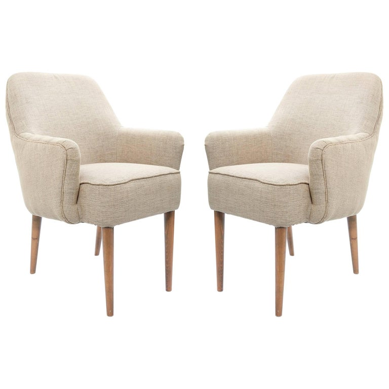 Midcentury Pair of Danish Petite Newly Upholstered Armchairs  For Sale