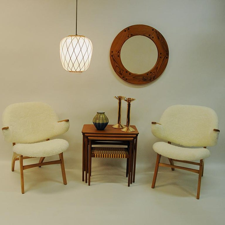 Midcentury Pair of Easy Chairs in White Sheepskin, Solliden Møbler Norway, 1950s For Sale 3