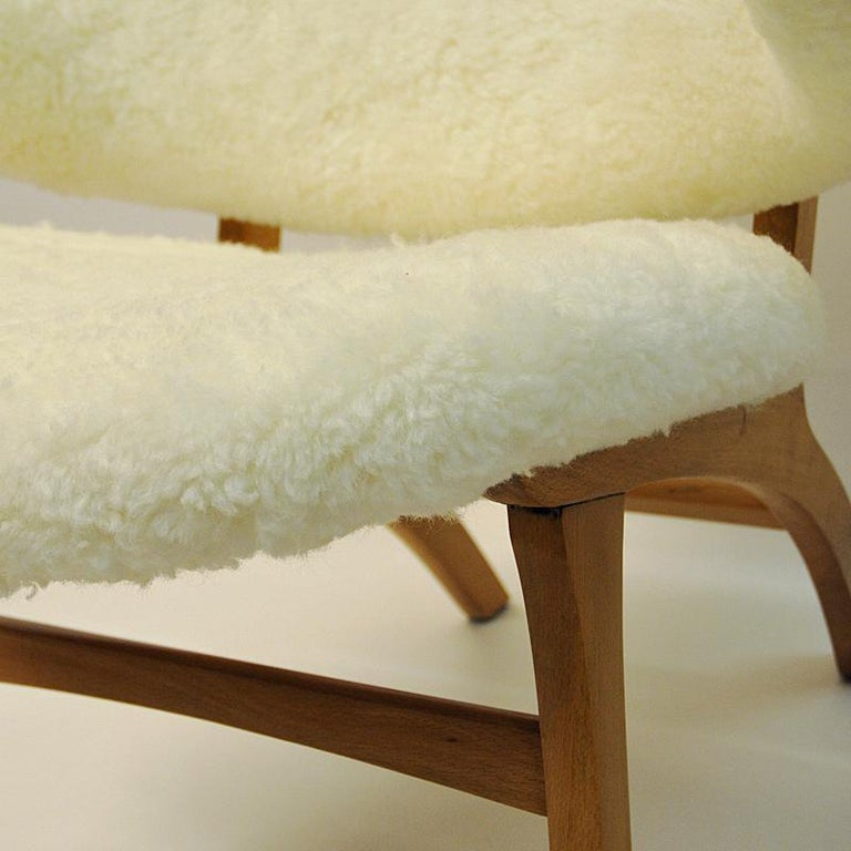 Birch Midcentury Pair of Easy Chairs in White Sheepskin, Solliden Møbler Norway, 1950s For Sale
