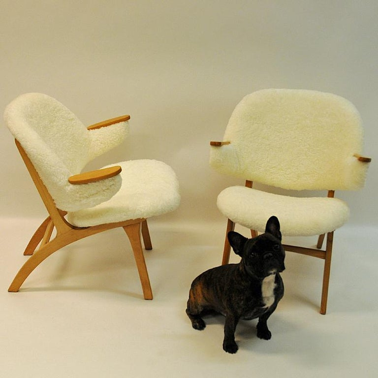 Midcentury Pair of Easy Chairs in White Sheepskin, Solliden Møbler Norway, 1950s For Sale 2