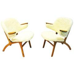 Midcentury Pair of Easy Chairs in White Sheepskin, Sollide Møbler Norway, 1950s