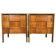 Midcentury Pair of Edmond Spence Checkerboard Side Cabinet Nightstands