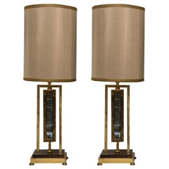 Midcentury Pair of French Gold Bronze and Smoky Quartz Lamps