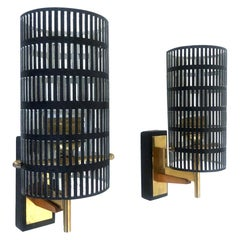 Midcentury Pair of French Perforated Metal Brass Wall Sconces, 1970s