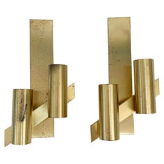 Midcentury Pair of Gaetano Sciolari Brass Italian Wall Sconces, 1960s