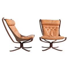Midcentury Pair of High-Back Falcon Chairs by Sigurd Ressell for Vatne Møbler