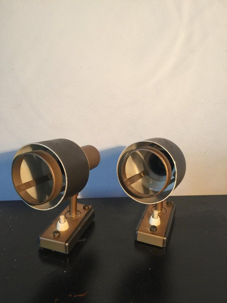 Mid-Century Modern Midcentury Pair of Italian Adjustable Stilnovo Spotlights, 1950s For Sale