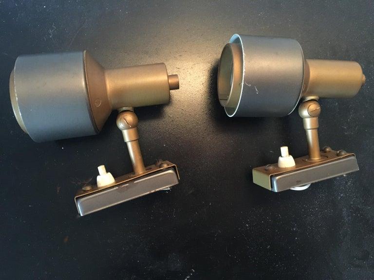Brass Midcentury Pair of Italian Adjustable Stilnovo Spotlights, 1950s For Sale
