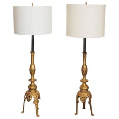 Midcentury Pair of Middle Eastern Style Solid Brass with Stone Inlay Tall Lamps