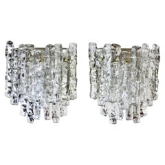 Mid-Century Pair of 'New Old Stock' Kalmar 1960s Glass Ice Crystal Wall Lights
