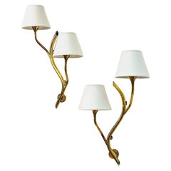 Midcentury Pair of Norwegian Branch Brass Wall Lamps from Astra, 1950s