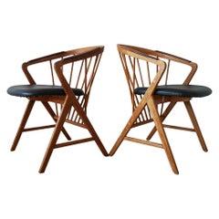 """Midcentury Pair of Oak or Teak Easy Chair Ikea Bengt Ruda """"Sierra"""", Sweden"""