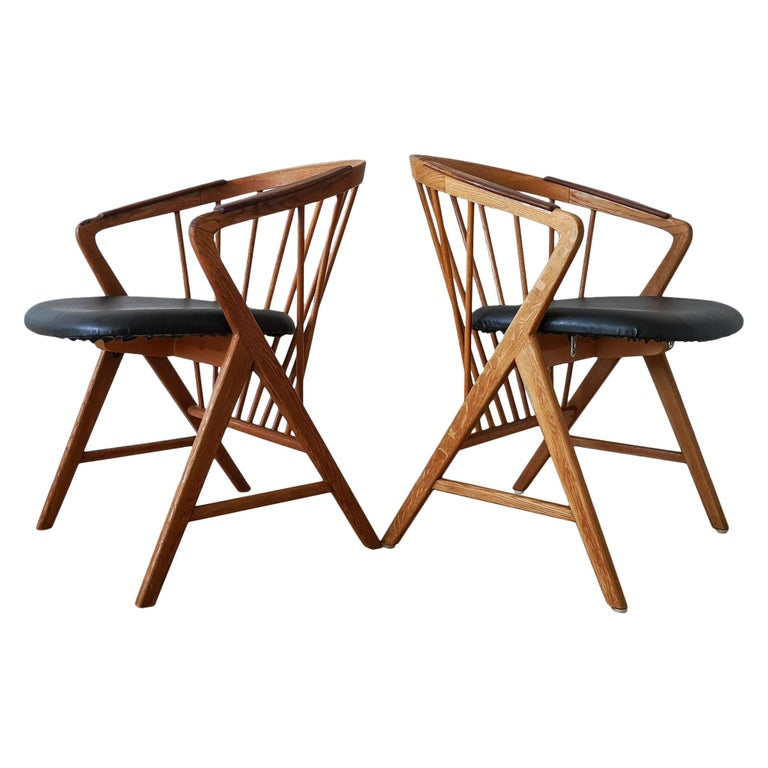 """Midcentury Pair of Oak or Teak Easy Chair Ikea Bengt Ruda """"Sierra"""", Sweden For Sale"""