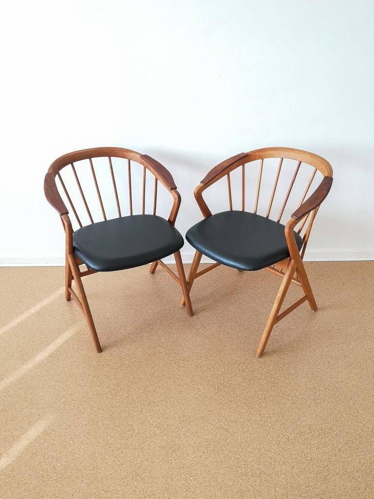 Swedish Midcentury Pair of Oak or Teak Easy Chair Ikea Bengt Ruda