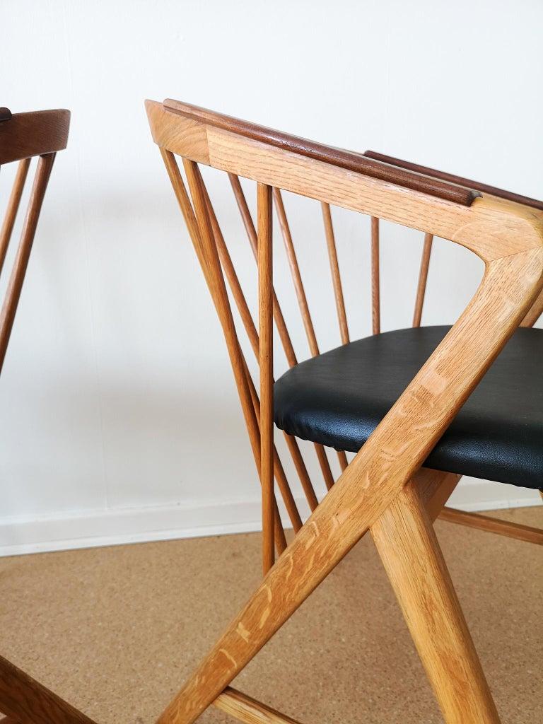 Faux Leather Midcentury Pair of Oak or Teak Easy Chair Ikea Bengt Ruda