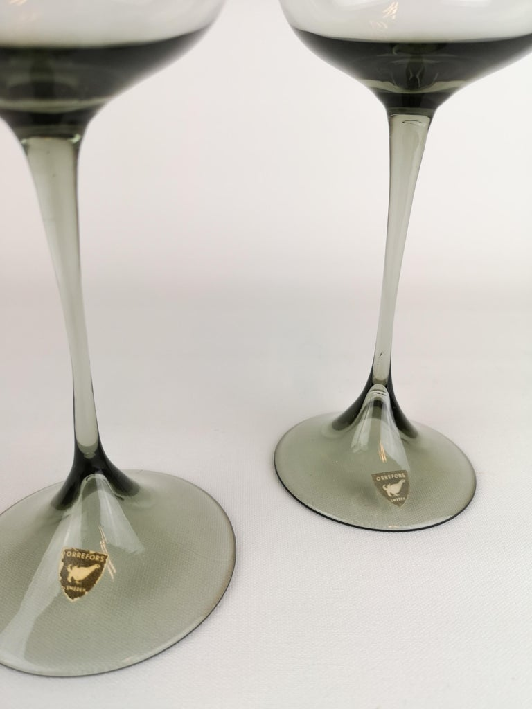Mid-Century Modern Midcentury Pair of Orrefors Tulip, Grey-Tinted Glass Nils Landberg For Sale